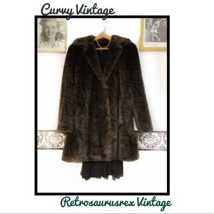 Vintage 80's Animal Print Faux Fur Pin Up Coat 2X